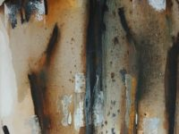 Abstract oil painting female's upper torso