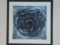 Lava and ceramic wall art painted iridescent blue 28cmx28cm by Jesús Torrez