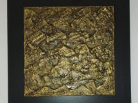 Gold coloured lava and ceramic textured wall art 28cm x 28cm by Jesús Torrez